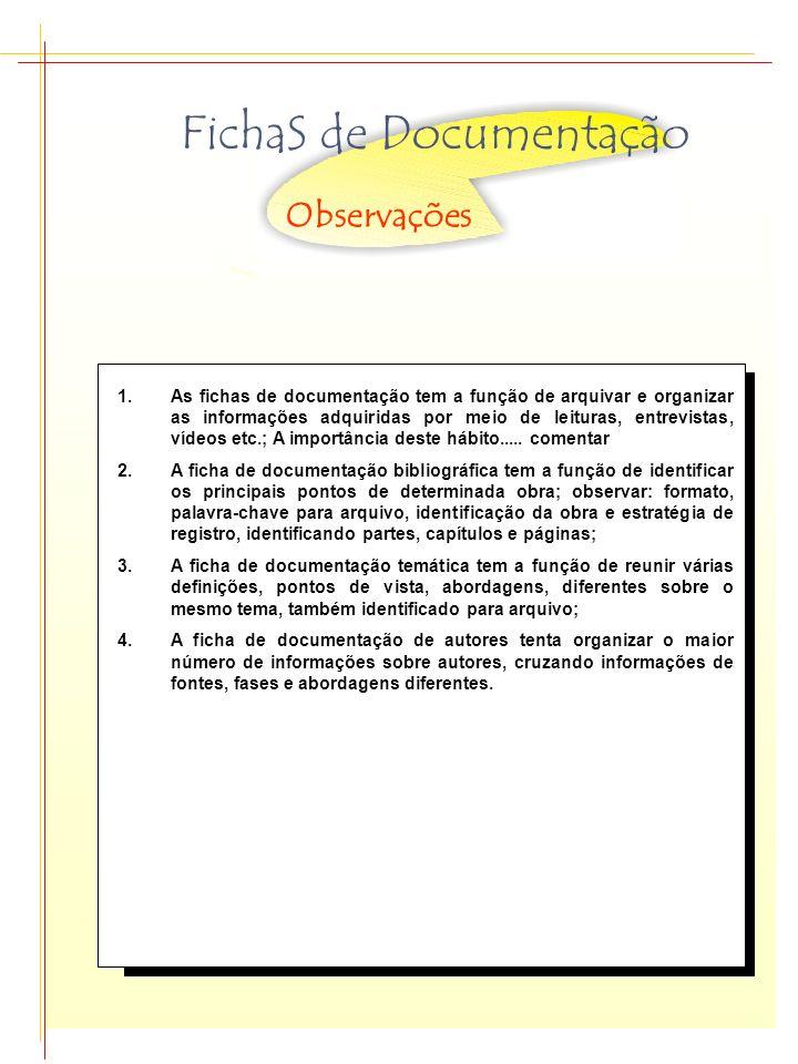 FichaS de Documentação