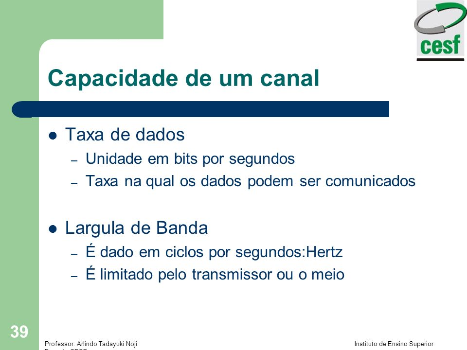 Capacidade de um canal Taxa de dados Largula de Banda