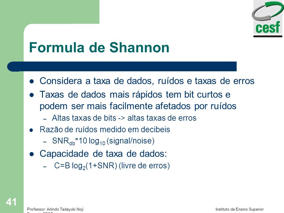 Formula de Shannon Considera a taxa de dados, ruídos e taxas de erros