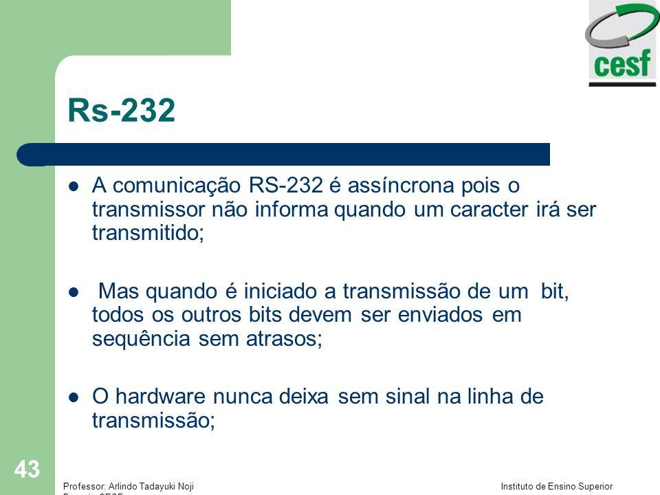 Rs-232A comunicação RS-232 é assíncrona pois o transmissor não informa quando um caracter irá ser transmitido;