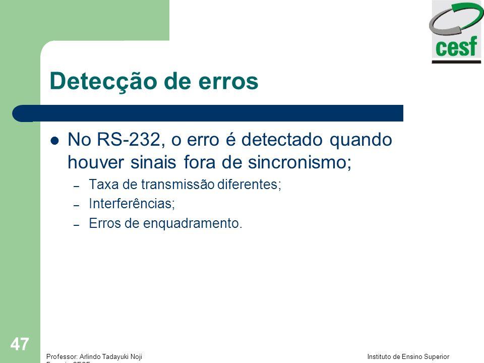 Detecção de erros No RS-232, o erro é detectado quando houver sinais fora de sincronismo; Taxa de transmissão diferentes;