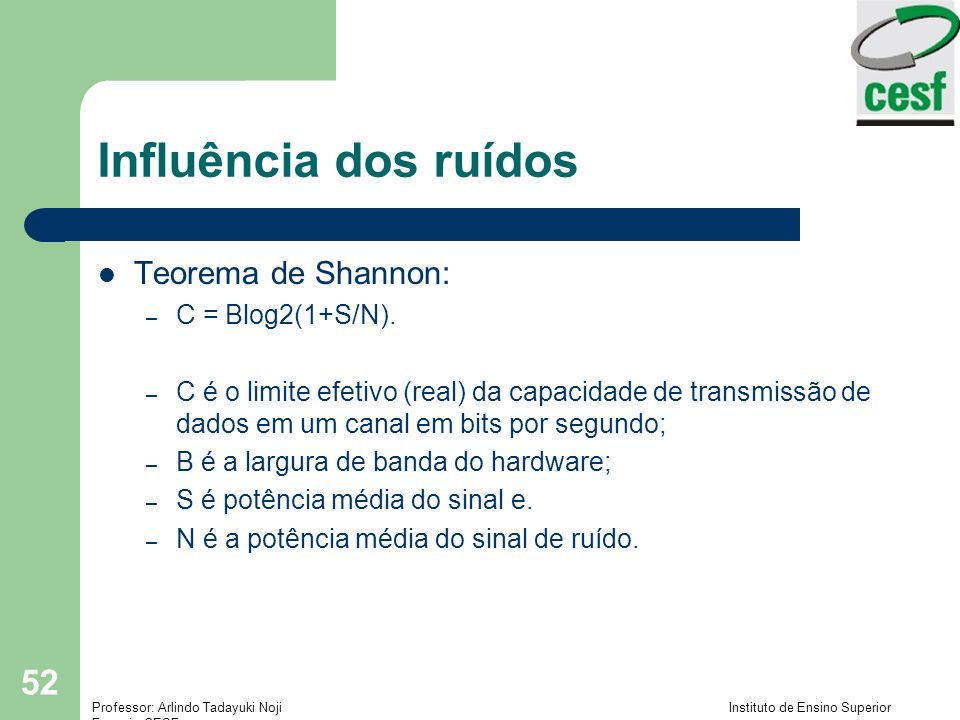 Influência dos ruídos Teorema de Shannon: C = Blog2(1+S/N).