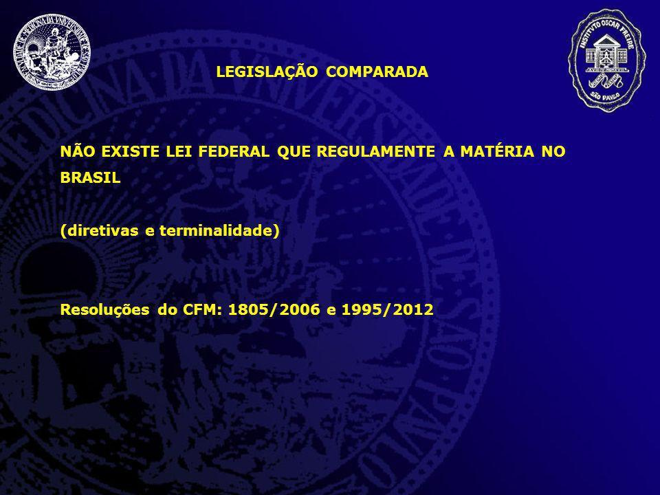 LEGISLAÇÃO COMPARADA NÃO EXISTE LEI FEDERAL QUE REGULAMENTE A MATÉRIA NO BRASIL. (diretivas e terminalidade)