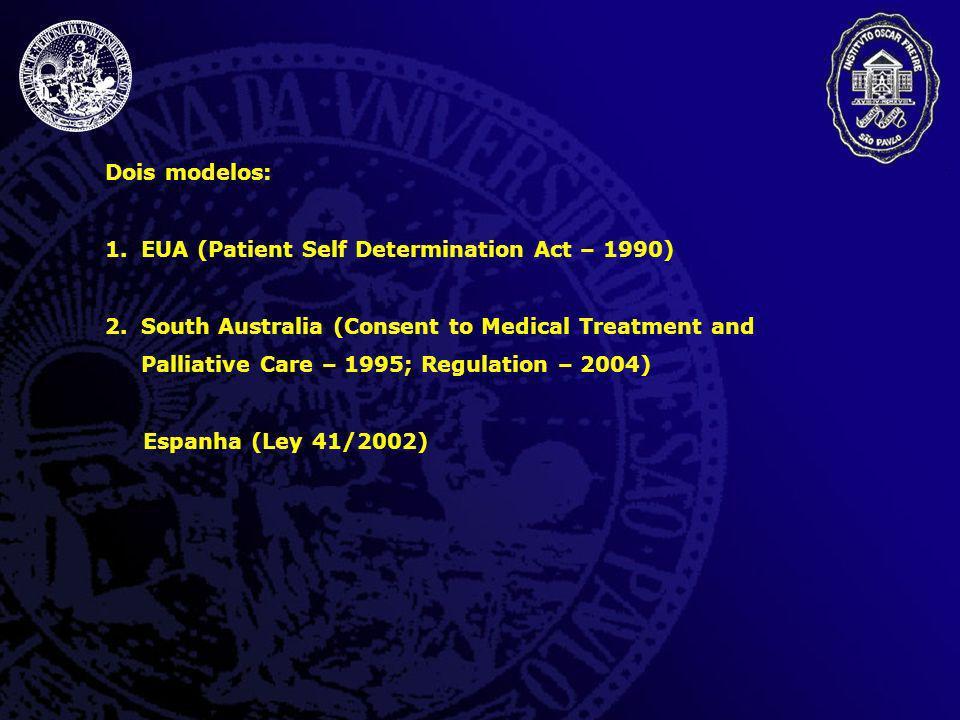 Dois modelos: EUA (Patient Self Determination Act – 1990)