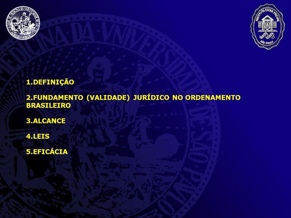 DEFINIÇÃO FUNDAMENTO (VALIDADE) JURÍDICO NO ORDENAMENTO BRASILEIRO ALCANCE LEIS EFICÁCIA