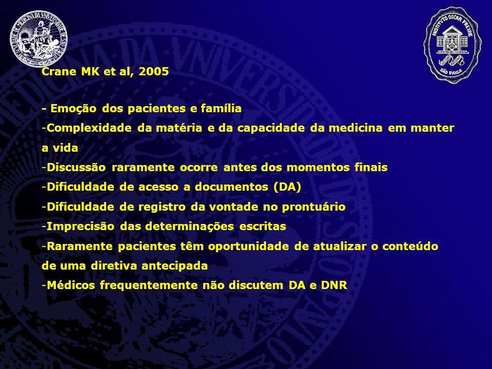 Crane MK et al, 2005 - Emoção dos pacientes e família. Complexidade da matéria e da capacidade da medicina em manter a vida.