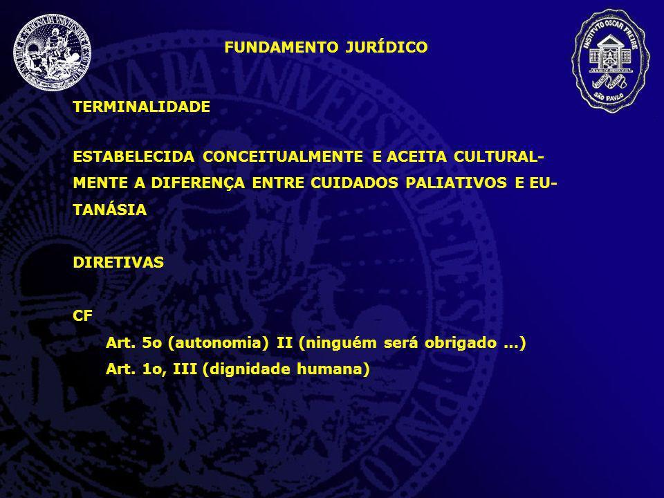 FUNDAMENTO JURÍDICO TERMINALIDADE. ESTABELECIDA CONCEITUALMENTE E ACEITA CULTURAL-MENTE A DIFERENÇA ENTRE CUIDADOS PALIATIVOS E EU-TANÁSIA.