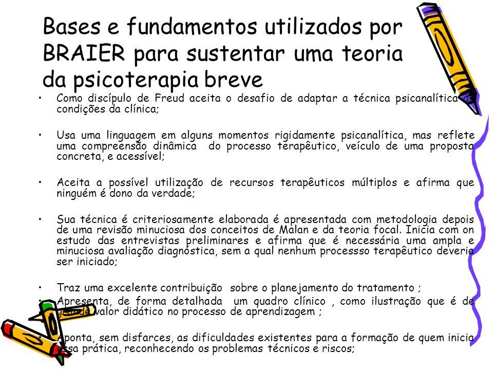Bases e fundamentos utilizados por BRAIER para sustentar uma teoria da psicoterapia breve