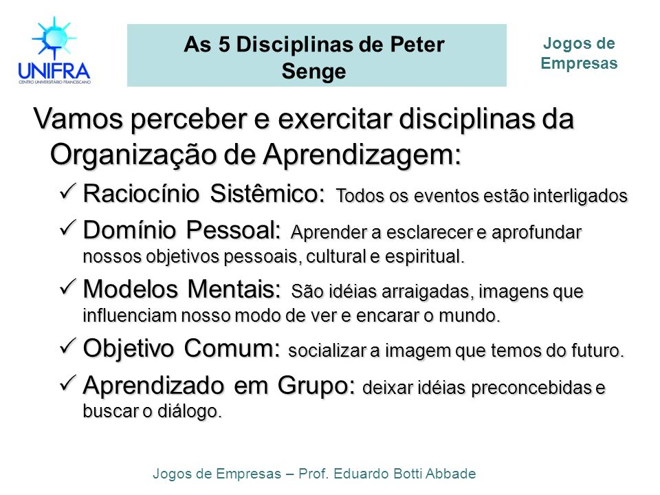 As 5 Disciplinas de Peter Senge