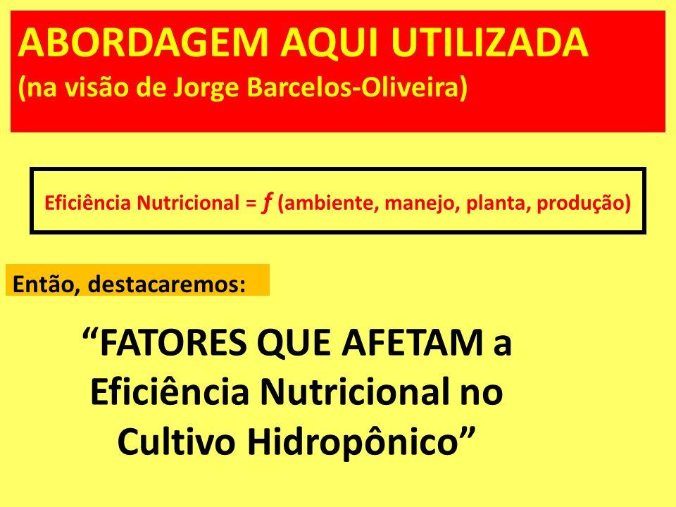 FATORES QUE AFETAM a Eficiência Nutricional no Cultivo Hidropônico