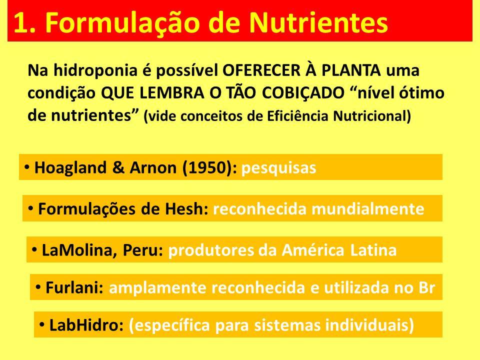 1. Formulação de Nutrientes