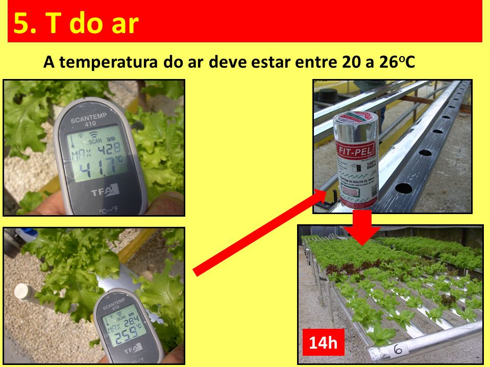 A temperatura do ar deve estar entre 20 a 26oC