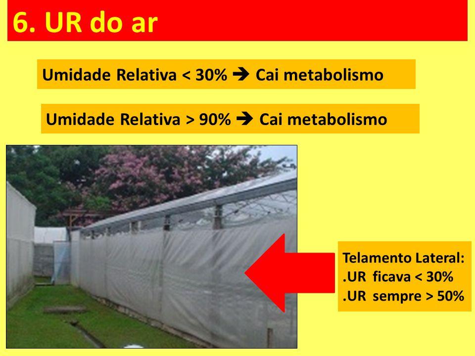 Umidade Relativa < 30%  Cai metabolismo