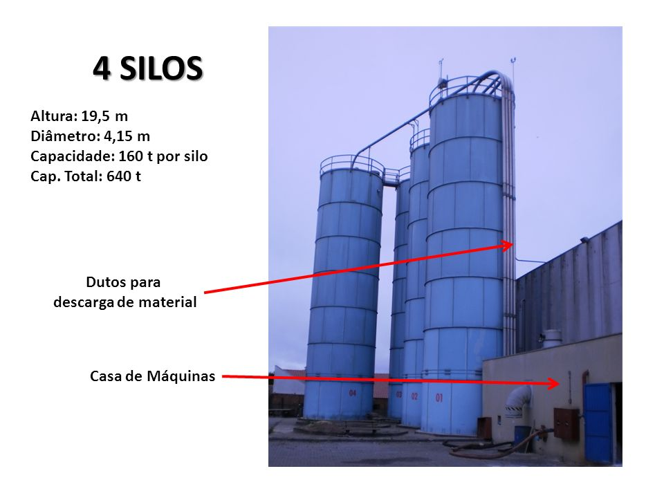 4 SILOS Altura: 19,5 m Diâmetro: 4,15 m Capacidade: 160 t por silo