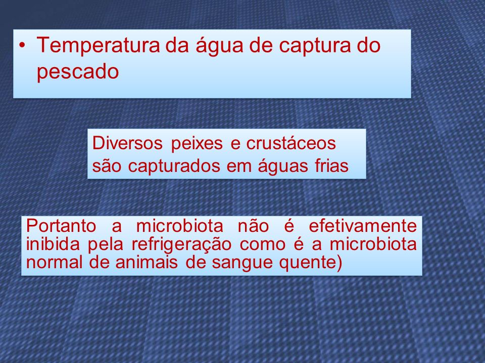 Temperatura da água de captura do pescado