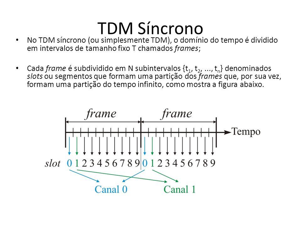 TDM SíncronoNo TDM síncrono (ou simplesmente TDM), o domínio do tempo é dividido em intervalos de tamanho fixo T chamados frames;