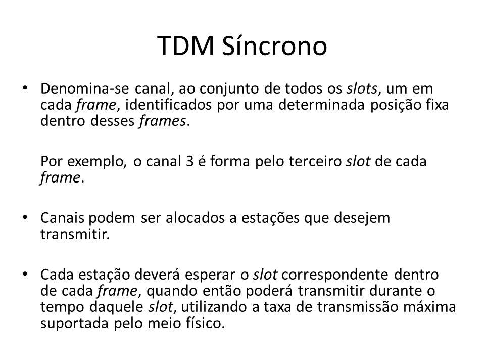 TDM SíncronoDenomina-se canal, ao conjunto de todos os slots, um em cada frame, identificados por uma determinada posição fixa dentro desses frames.