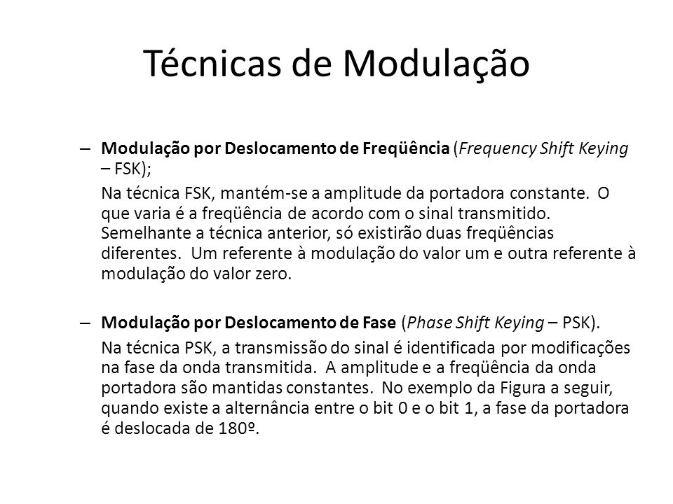 Técnicas de Modulação Modulação por Deslocamento de Freqüência (Frequency Shift Keying – FSK);