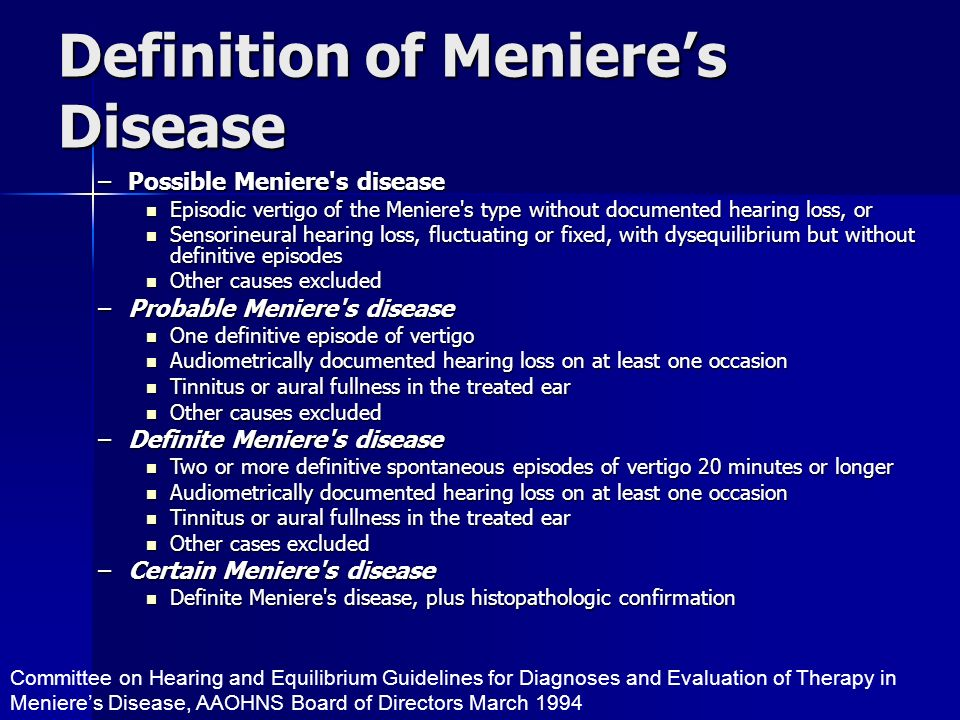 Definition of Meniere's Disease