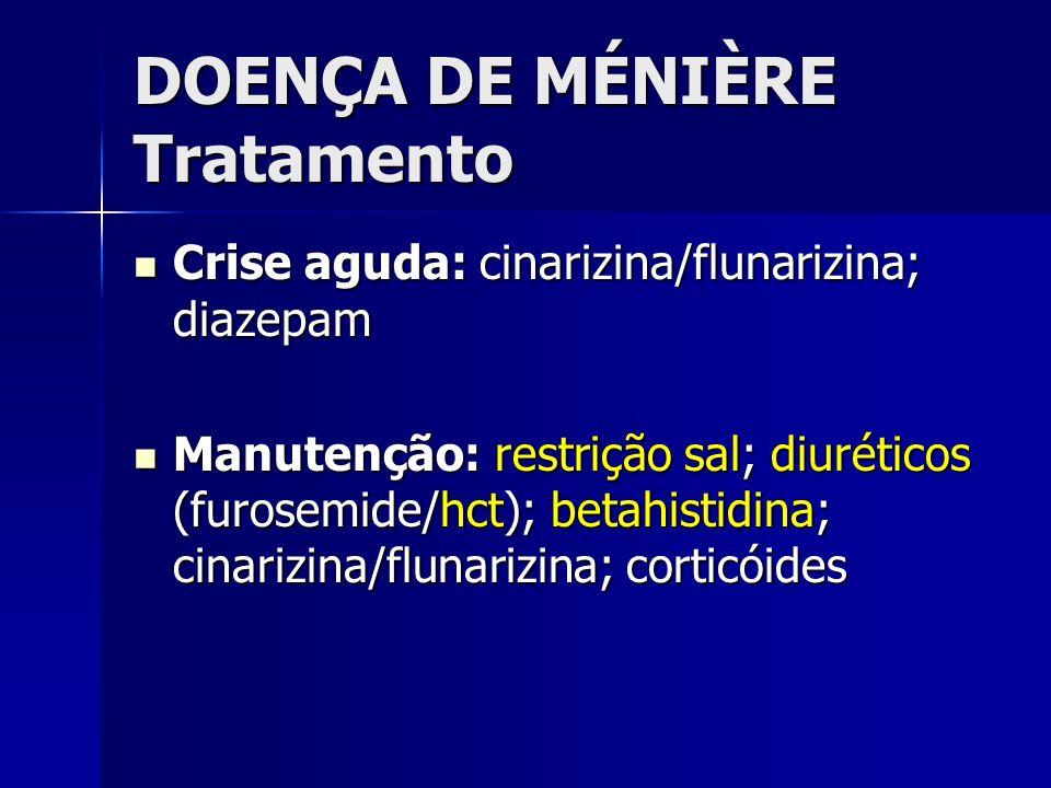 DOENÇA DE MÉNIÈRE Tratamento