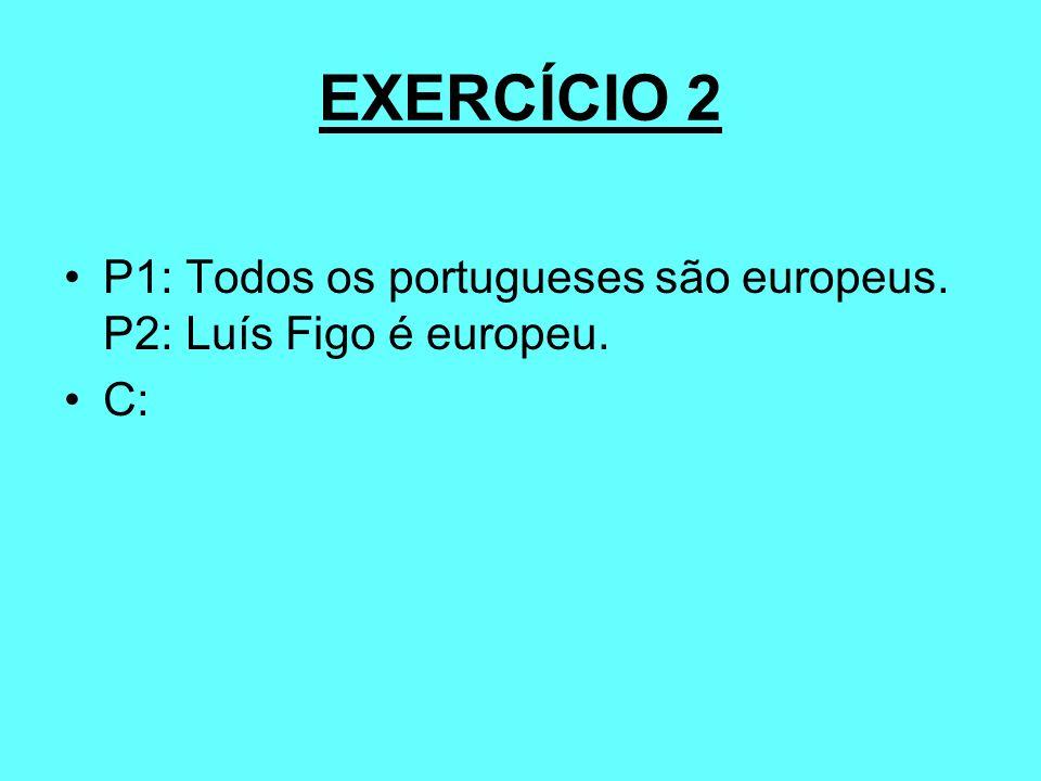 EXERCÍCIO 2 P1: Todos os portugueses são europeus. P2: Luís Figo é europeu. C: