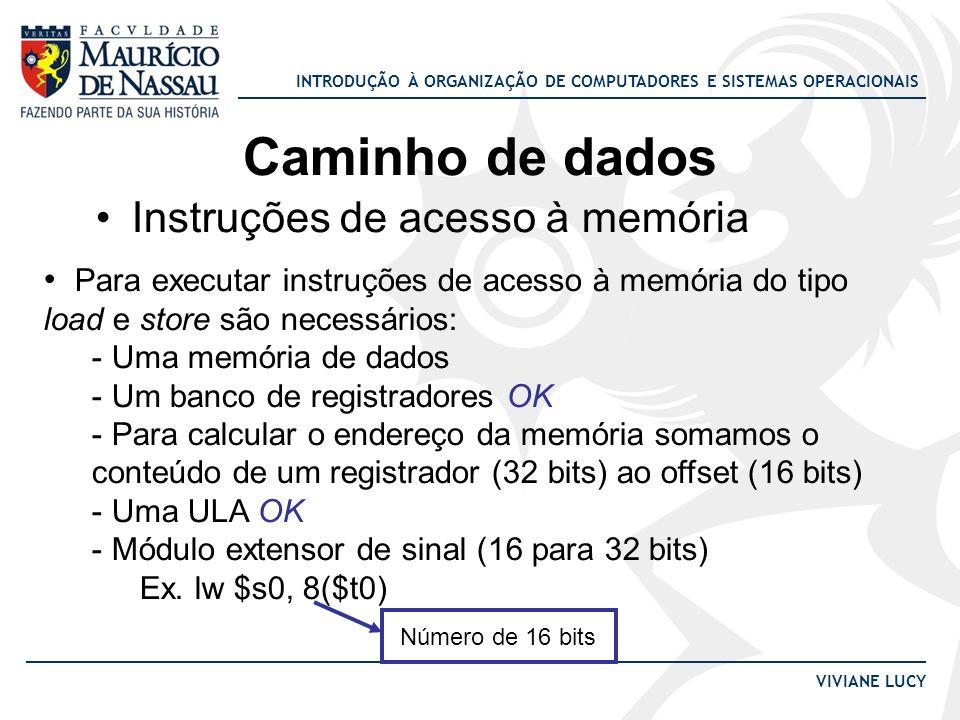 Caminho de dados Instruções de acesso à memória