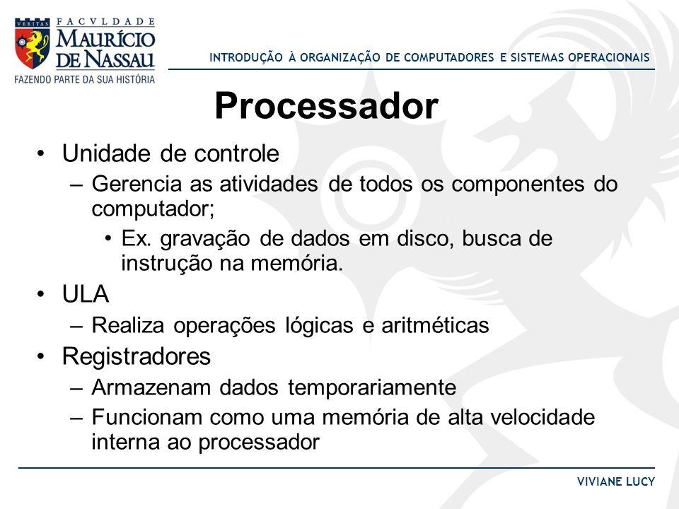 Processador Unidade de controle ULA Registradores