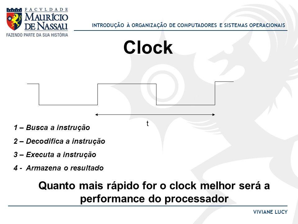 Clock t. 1 – Busca a instrução. 2 – Decodifica a instrução. 3 – Executa a instrução. 4 - Armazena o resultado.