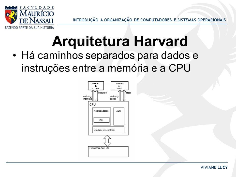 Arquitetura Harvard Há caminhos separados para dados e instruções entre a memória e a CPU