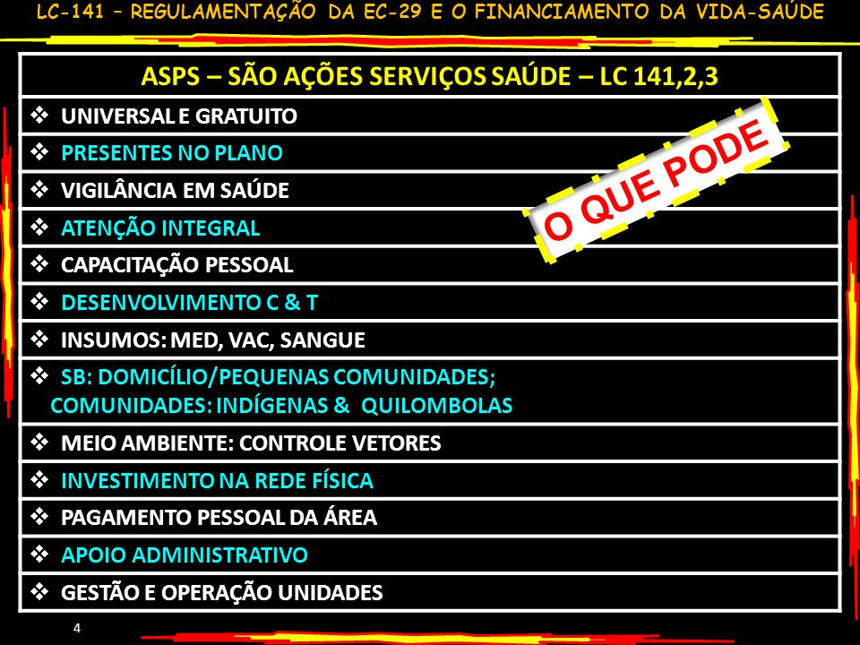 ASPS – SÃO AÇÕES SERVIÇOS SAÚDE – LC 141,2,3