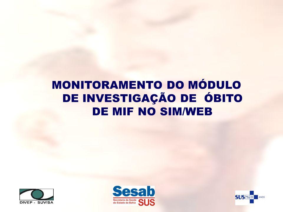 MONITORAMENTO DO MÓDULO DE INVESTIGAÇÃO DE ÓBITO DE MIF NO SIM/WEB