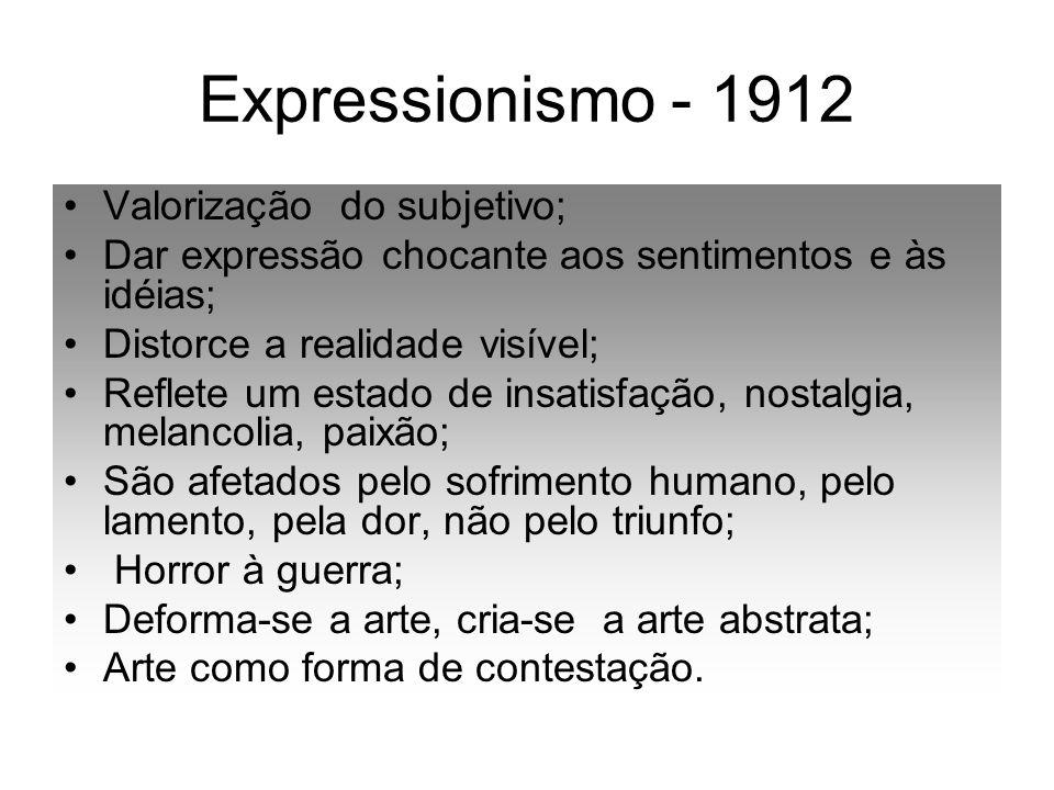 Expressionismo - 1912 Valorização do subjetivo;