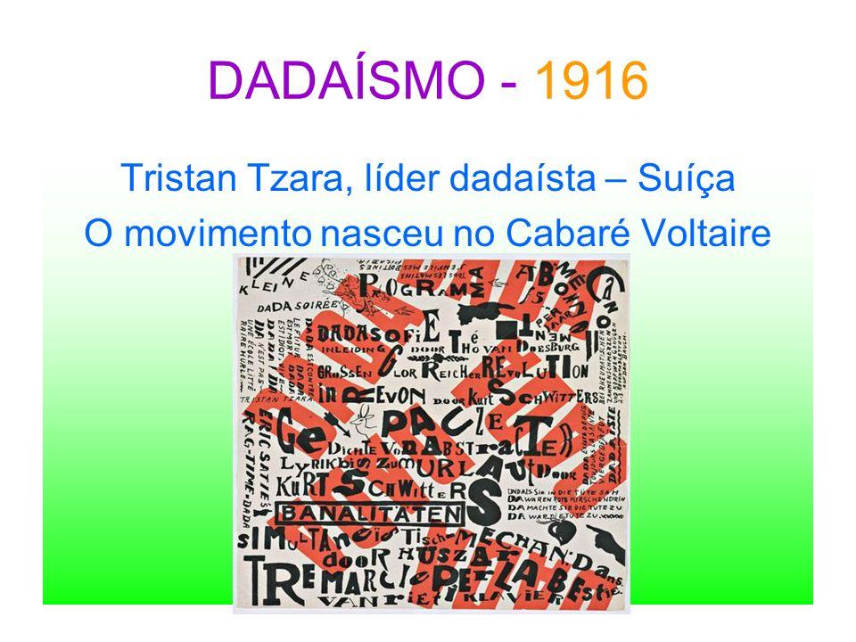DADAÍSMO - 1916 Tristan Tzara, líder dadaísta – Suíça