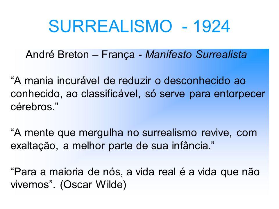 SURREALISMO - 1924 André Breton – França - Manifesto Surrealista