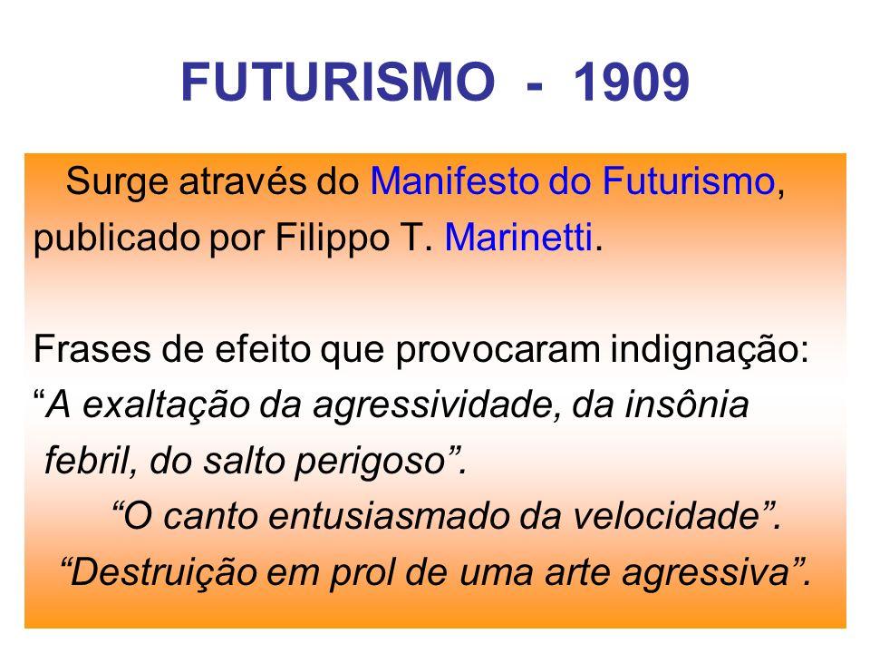 FUTURISMO - 1909 Surge através do Manifesto do Futurismo,