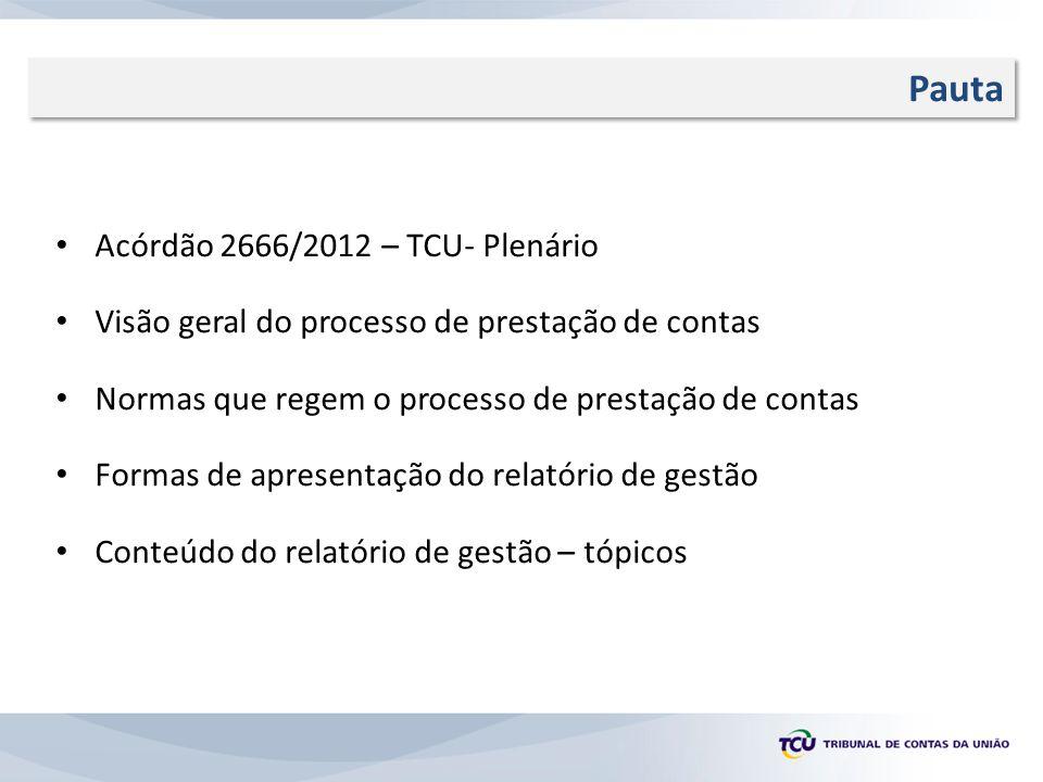 R Pauta Acórdão 2666/2012 – TCU- Plenário