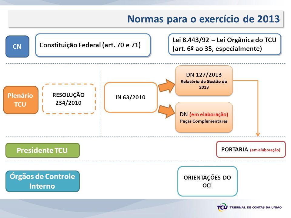Normas para o exercício de 2013