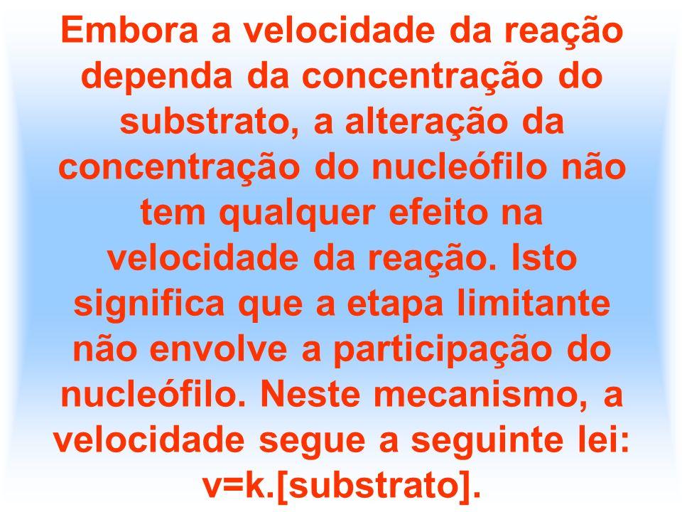 Embora a velocidade da reação dependa da concentração do substrato, a alteração da concentração do nucleófilo não tem qualquer efeito na velocidade da reação.