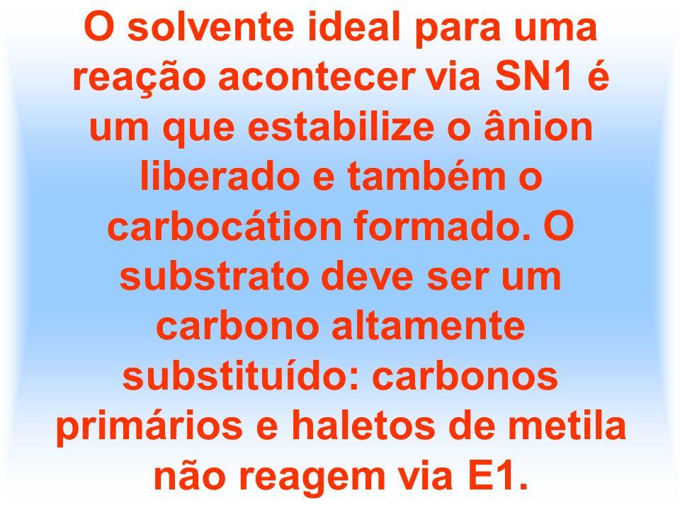 O solvente ideal para uma reação acontecer via SN1 é um que estabilize o ânion liberado e também o carbocátion formado.