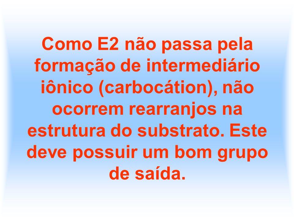 Como E2 não passa pela formação de intermediário iônico (carbocátion), não ocorrem rearranjos na estrutura do substrato.