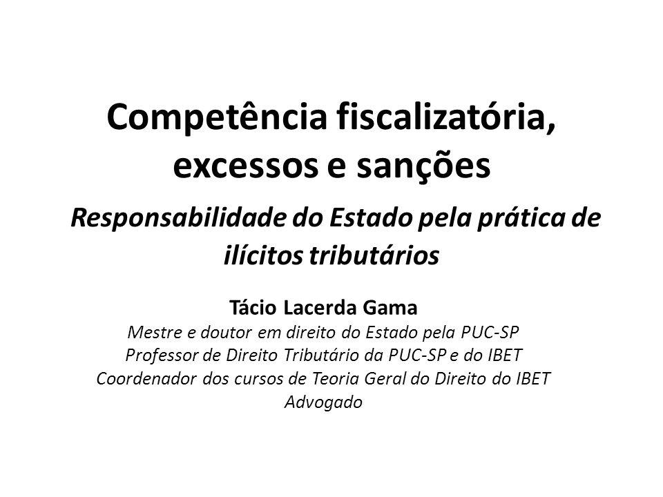 Competência fiscalizatória, excessos e sanções Responsabilidade do Estado pela prática de ilícitos tributários