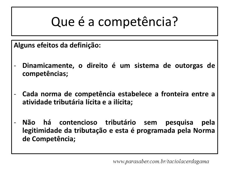 Que é a competência Alguns efeitos da definição: