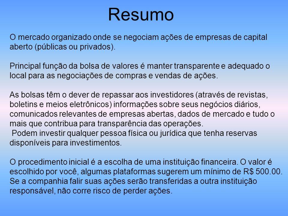 Resumo O mercado organizado onde se negociam ações de empresas de capital aberto (públicas ou privados).