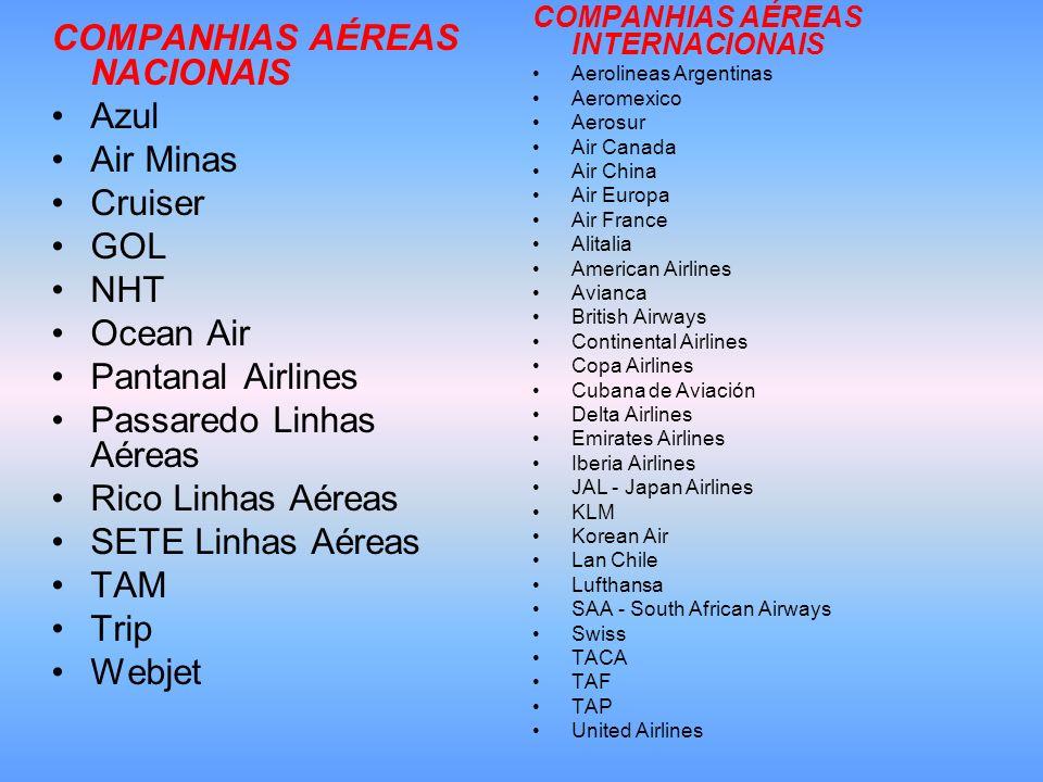 COMPANHIAS AÉREAS NACIONAIS Azul Air Minas Cruiser GOL NHT Ocean Air