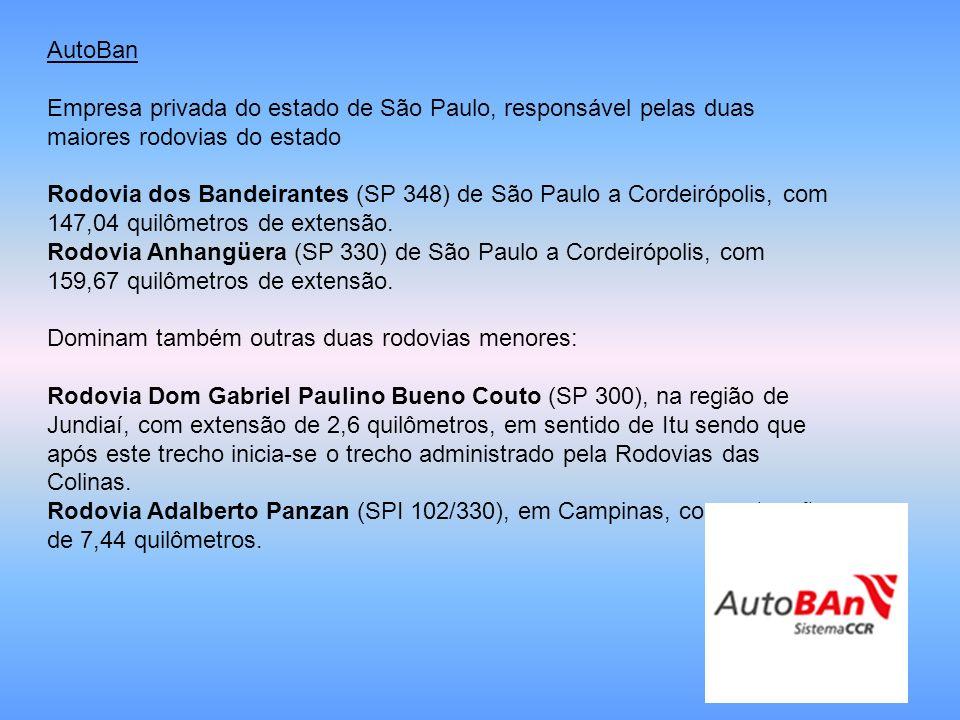 AutoBan Empresa privada do estado de São Paulo, responsável pelas duas maiores rodovias do estado.