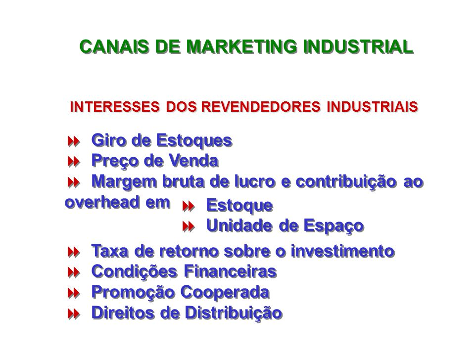 CANAIS DE MARKETING INDUSTRIAL INTERESSES DOS REVENDEDORES INDUSTRIAIS