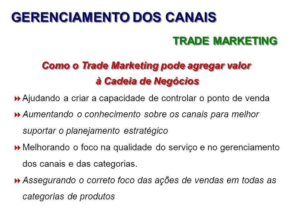 GERENCIAMENTO DOS CANAIS Como o Trade Marketing pode agregar valor