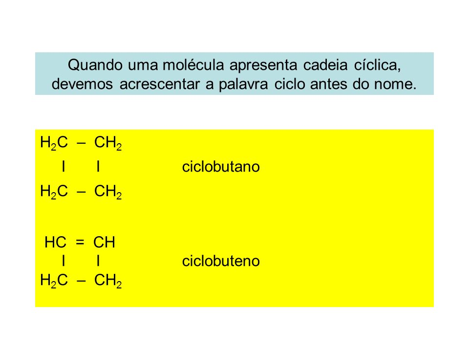 Quando uma molécula apresenta cadeia cíclica, devemos acrescentar a palavra ciclo antes do nome.