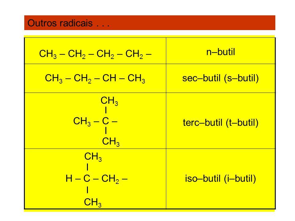 Outros radicais . . .CH3 – CH2 – CH2 – CH2 – n–butil. CH3 – CH2 – CH – CH3. sec–butil (s–butil) CH3.