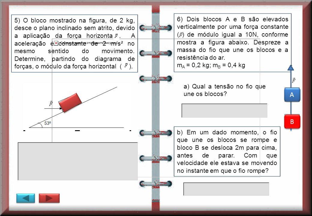 5) O bloco mostrado na figura, de 2 kg, desce o plano inclinado sem atrito, devido a aplicação da força horizontal . A aceleração é constante de 2 m/s² no mesmo sentido do movimento. Determine, partindo do diagrama de forças, o módulo da força horizontal ( ).